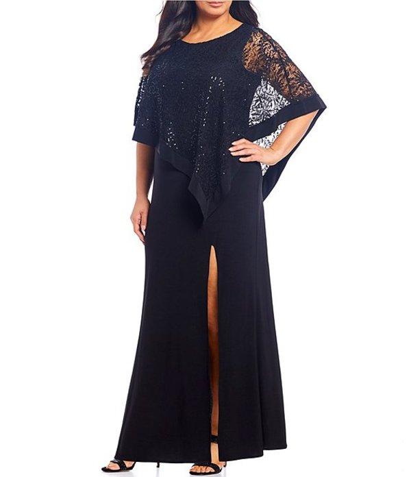 アールアンドエムリチャーズ レディース ワンピース トップス Plus Size Sequin Lace Poncho Overlay Gown Black