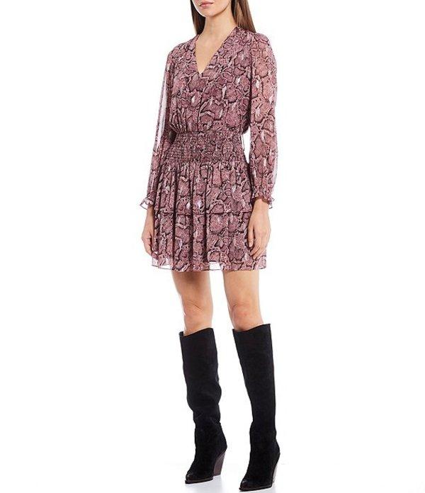 ワンステート レディース ワンピース トップス Long Sleeve Smocked Waist Snake Print Dress Mahogany