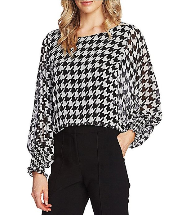 ヴィンスカムート レディース シャツ トップス Long Sleeve Batwing Smocked Cuff Houndstooth Blouse Rich Black