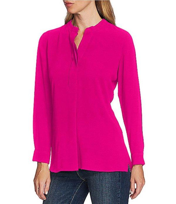 ヴィンスカムート レディース シャツ トップス Mandarin Collar Long Sleeve Henley Top Pink Shock