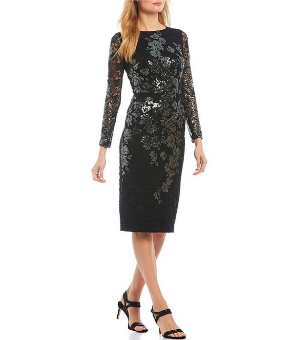 エスケープ レディース ワンピース トップス Long Sleeve Sequin Embroidered Lace Midi Sheath Dress Black/Gunmetal