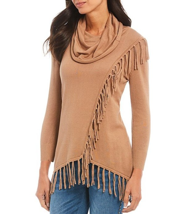 レバ レディース Tシャツ トップス Monica Fringe Knit Jersey Hi-Low Hem Cotton Blend Sweater Camel