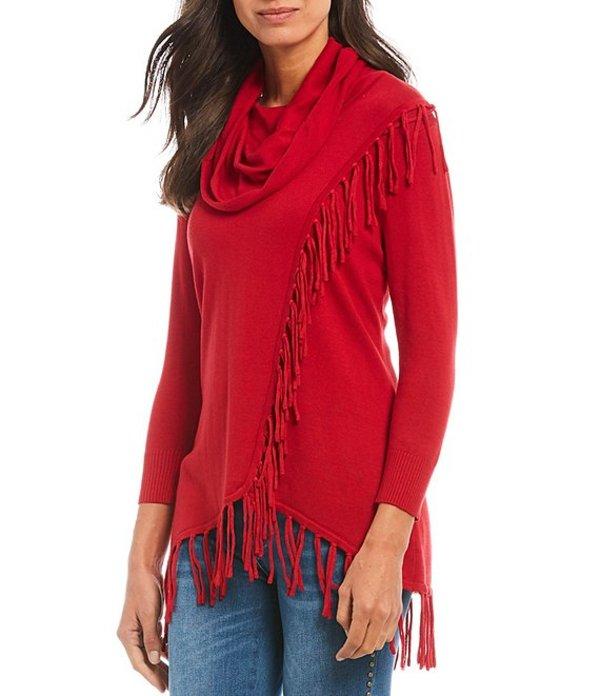 レバ レディース Tシャツ トップス Monica Fringe Knit Jersey Hi-Low Hem Cotton Blend Sweater Red