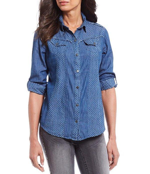レバ レディース シャツ トップス Mix Media Denim Button Front Cotton Shirt Chambray