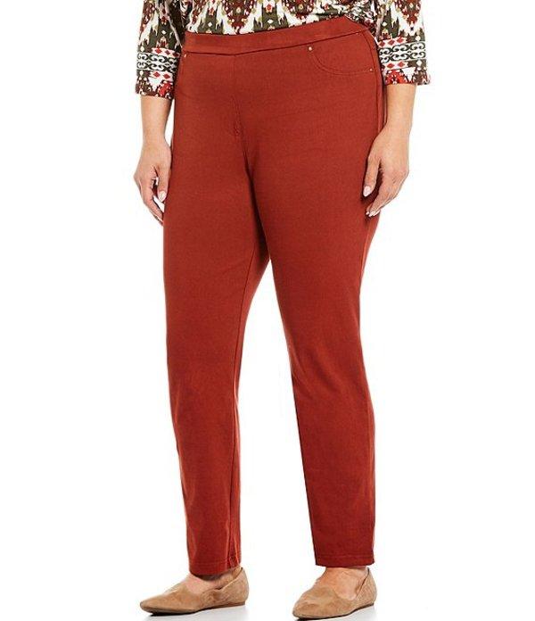 ルビーアールディー レディース デニムパンツ ボトムス Plus Size Pull-On Straight Leg Knitted Twill Pants Cinnabar