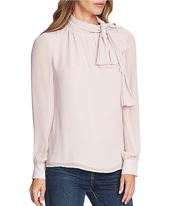 ヴィンスカムート レディース シャツ トップス Long Sleeve Chiffon Bow Neck Button Detail Blouse Soft Pink