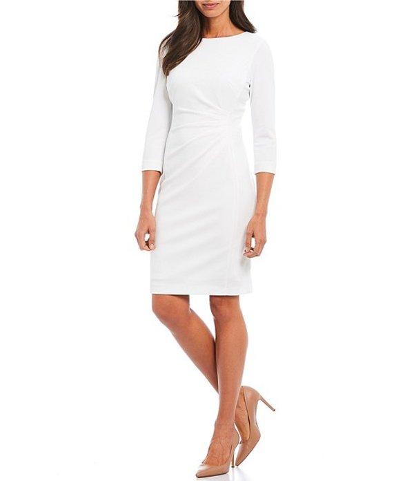 プレストンアンドヨーク レディース ワンピース トップス Roselle Ruched Waist Detail Scuba Crepe Dress True White