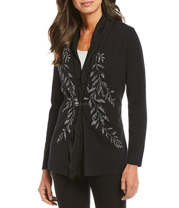 ゾゾ レディース パーカー・スウェット アウター Cotton Blend Knit Metallic Drape Front Vine Print Detail Cardigan Multi