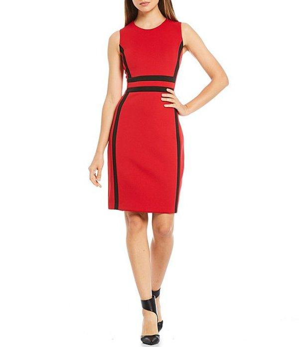 カルバンクライン レディース ワンピース トップス Colorblock Sheath Dress Red/Black