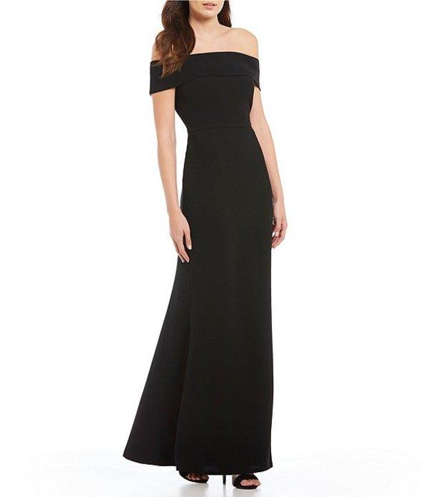 カルバンクライン レディース ワンピース トップス Off-the-Shoulder Portrait Collar Gown Black
