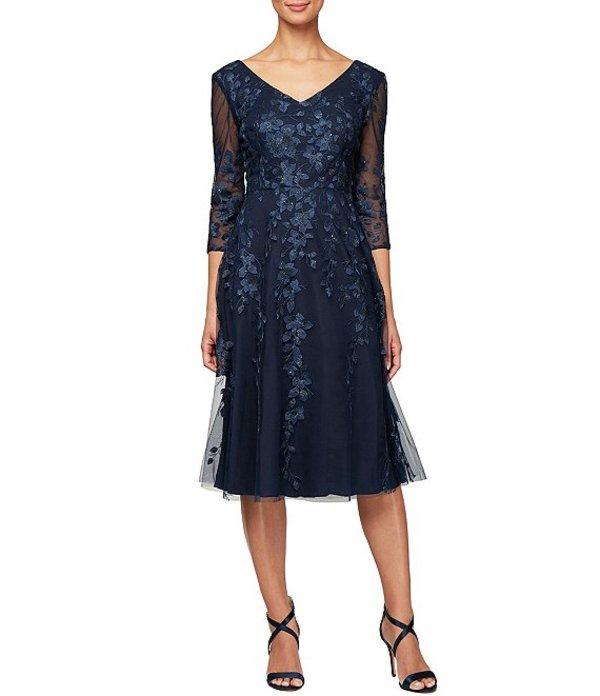 アレックスイブニングス レディース ワンピース トップス Illusion Sleeve Embroidered V-Neck A-Line Midi Dress Navy