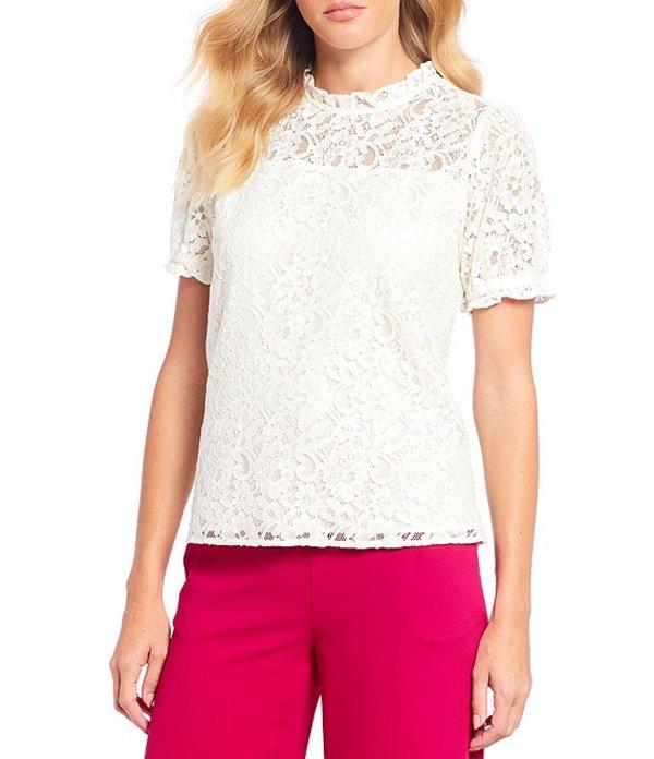 セセ レディース シャツ トップス Puffed Short Sleeve Floral Lace Ruffle Mock Neck Cotton Blend Blouse Soft Ecru