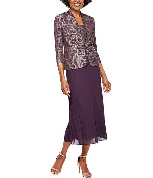 アレックスイブニングス レディース ワンピース トップス Petite Size Jacquard Knit Tea Length Jacket Dress Eggplant/Gold