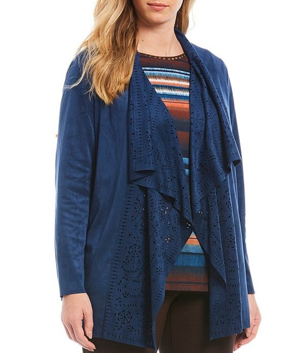 アリソン デイリー レディース カーディガン アウター Plus Size Ultra Stretch Faux Suede Lace Cut-Out Cascade Open-Front Cardigan Indigo Blue