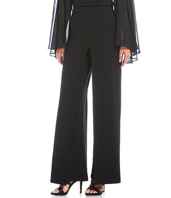 アドリアナ パペル レディース カジュアルパンツ ボトムス Crepe A-Line Wide Leg Drape Detail Pant Black