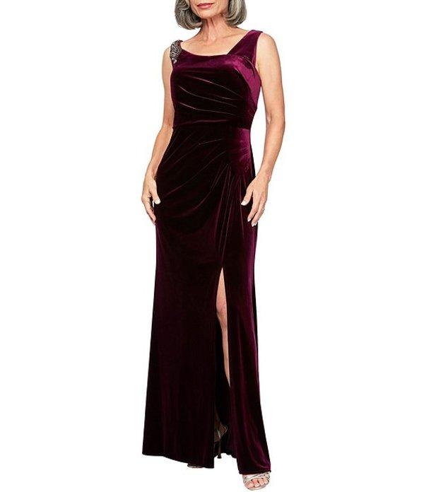 アレックスイブニングス レディース ワンピース トップス Stretch Velvet Sleeveless Side Slit Gown Plum