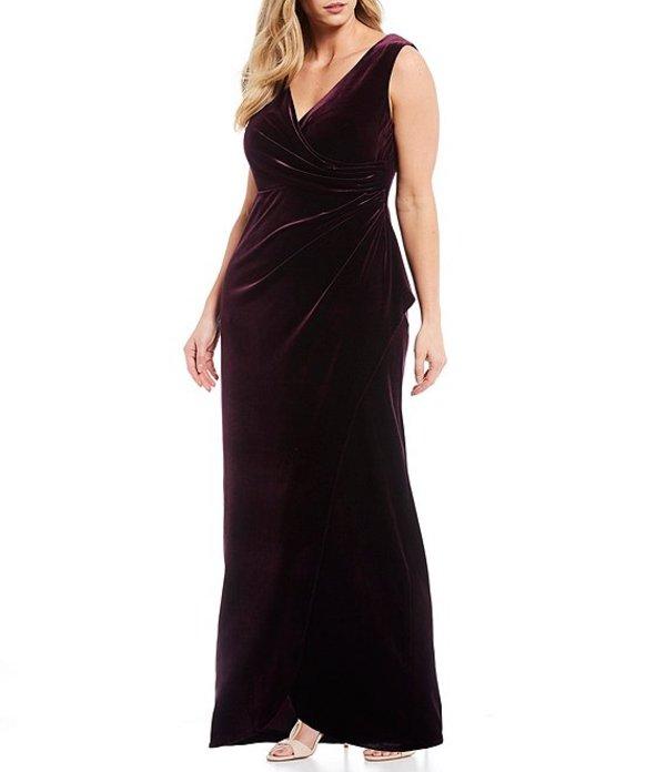 アレックスイブニングス レディース ワンピース トップス Plus Size Stretch Velvet Tulip Skirt Gown Aubergine