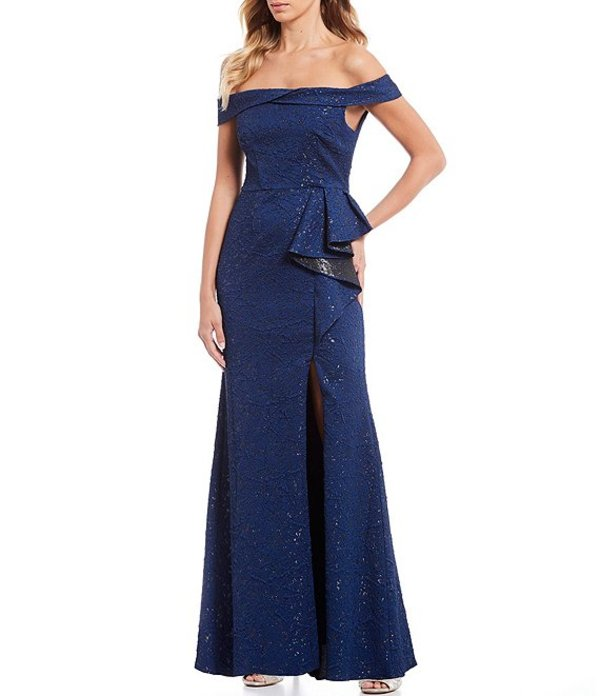 アドリアナ パペル レディース ワンピース トップス Petite Size Metallic Stretch Jacquard Off-the-Shoulder Side Ruffle Front Slit Mermaid Gown Light Navy