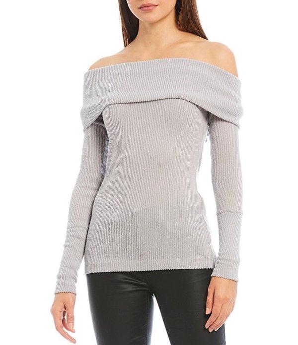 フリーピープル レディース Tシャツ トップス Snowbunny Long Sleeve Off-the-Shoulder Knit Top Grey