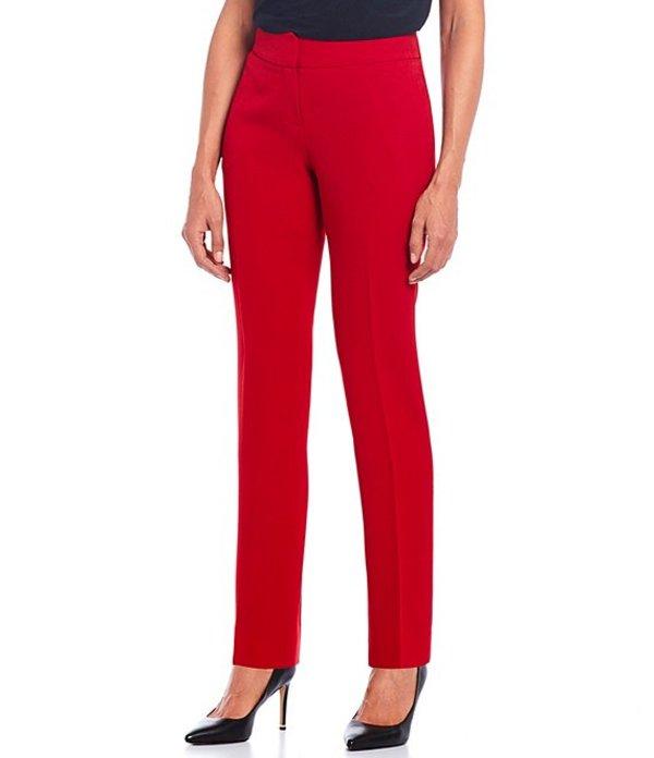 カスパール レディース デニムパンツ ボトムス Petite Solid Crepe Slim Pant Fire Red