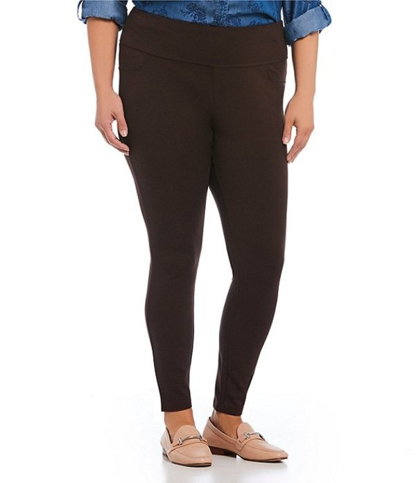 イントロ レディース カジュアルパンツ ボトムス Plus Size Solid Double Knit Tummy Control Leggings Espresso Roast