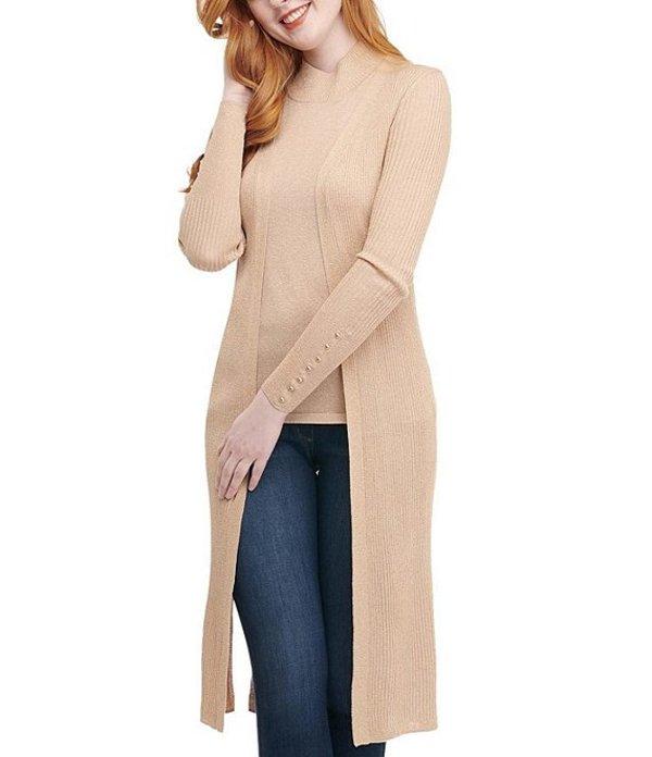 ピーター ナイガード レディース カーディガン アウター Petite Size Long Sleeve Ribbed Metallic Open Front Cardigan Light Camel/Gold