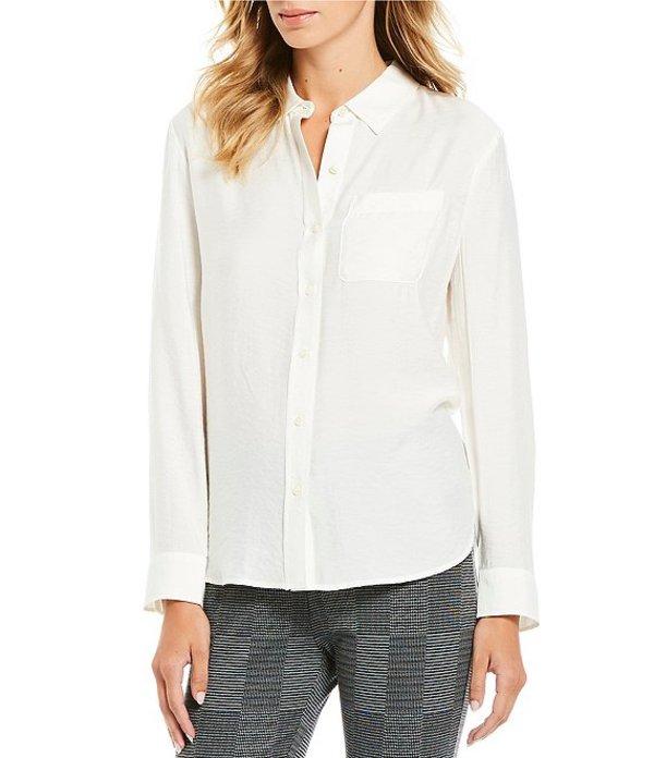 ウエストバウンド レディース シャツ トップス Petite Size Front Pocket Button Down Shirt Dark Cream