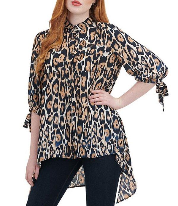 ピーター ナイガード レディース シャツ トップス 3/4 Tie Sleeve Leopard Print Hi-Low Tunic Indigo Leopard