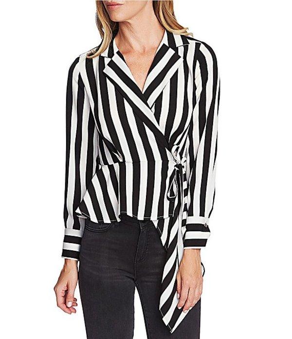 ヴィンスカムート レディース シャツ トップス Long Sleeve Striped Wrap Front Peplum Blouse Rich Black