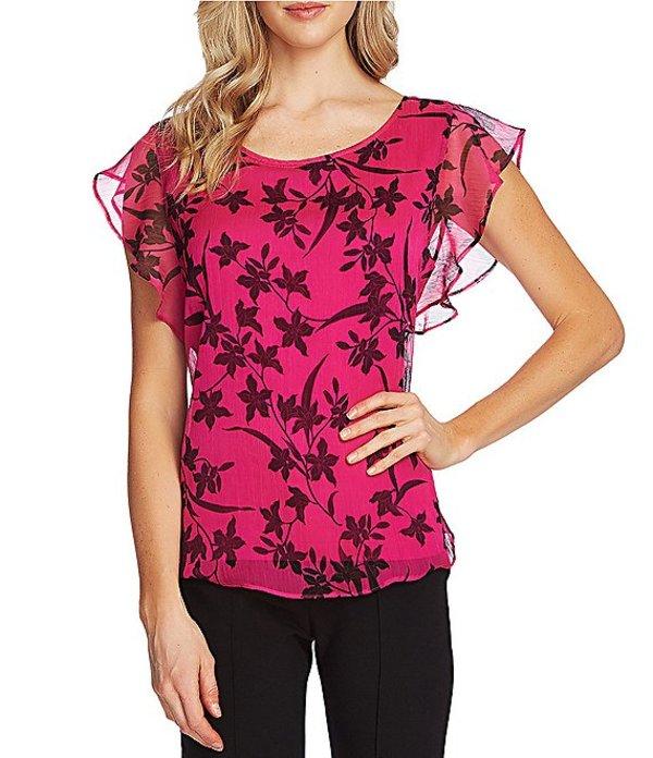 ヴィンスカムート レディース シャツ トップス Boat Neck Flutter Sleeve Floral Print Overlay Blouse Pink Shock