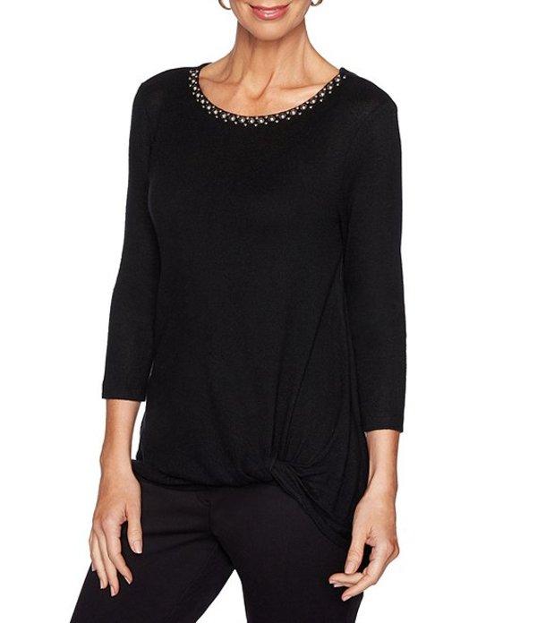 ルビーアールディー レディース Tシャツ トップス Petite Size Embellished Scoop Neck Solid Brushed Hatchi Knit Side Knot Detail Top Black