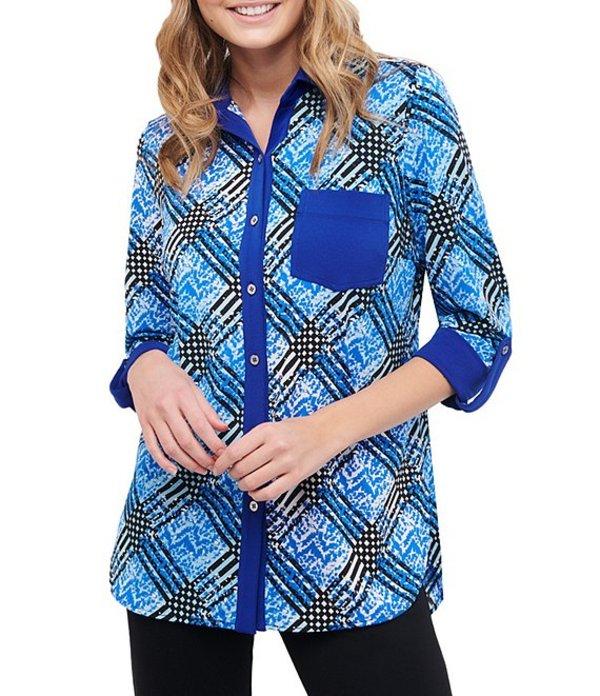 ピーター ナイガード レディース シャツ トップス Mixed Print Knit Chiffon Roll Cuff Shirt Blue/White/Check
