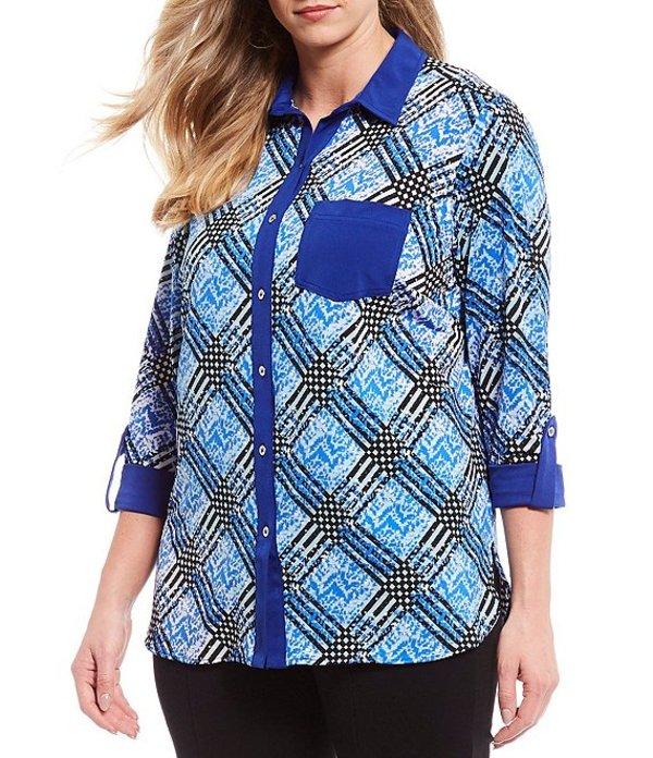 ピーター ナイガード レディース Tシャツ トップス Plus Size Mixed Print Knit Chiffon Roll-Cuff Shirt Blue/White/Check