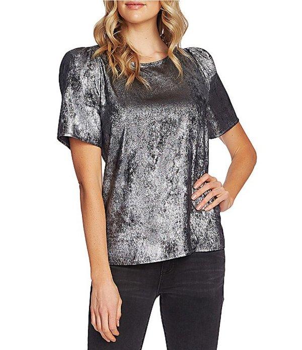 ヴィンスカムート レディース シャツ トップス Short Puff Sleeve Metallic Distressed Foil Blouse Rich Black
