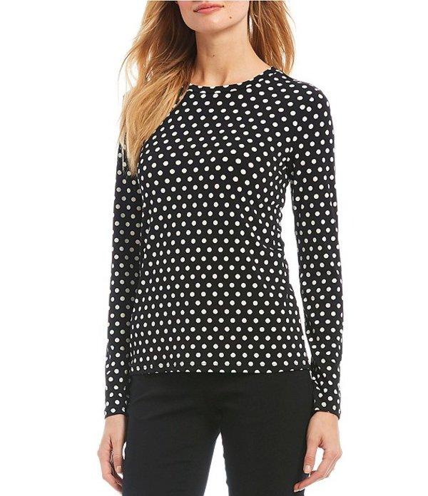 マイケルコース レディース シャツ トップス Mod Dot Print Matte Jersey Long Sleeve Top Black/Bone