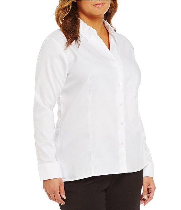 カルバンクライン レディース シャツ トップス Plus Wrinkle-Free Pinpoint Oxford Blouse White