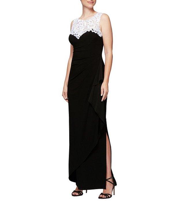 アレックスイブニングス レディース ワンピース トップス Petite Size Embroidered Neckline Long Dress Black/White