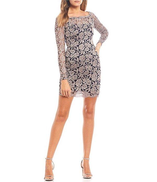 シークインハーツ レディース ハーフパンツ・ショーツ ボトムス Long Sleeve Floral Lace Sheath Dress Navy/Blush