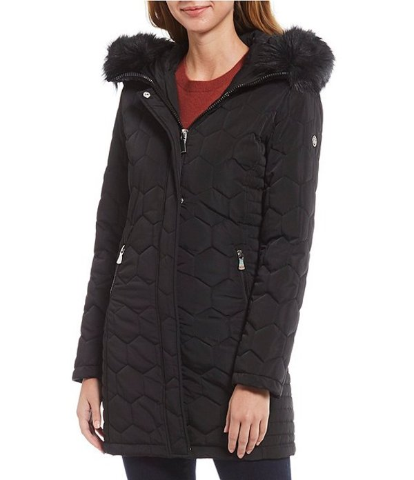カルバンクライン レディース コート アウター Faux Fur Hooded Honeycomb Quilted Coat Black