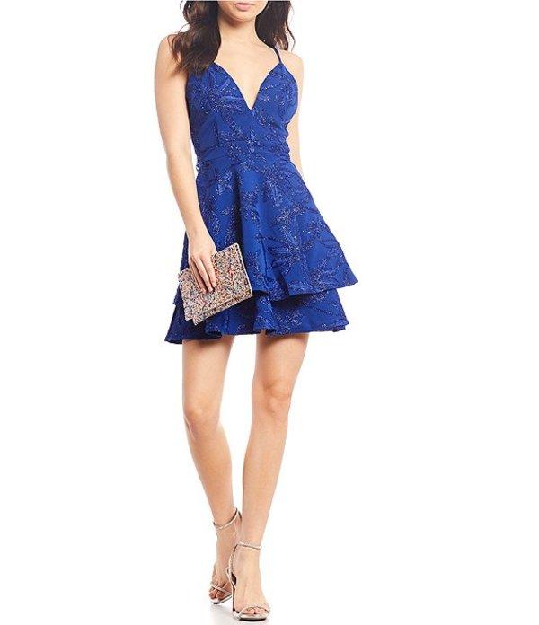 ハニーアンドロージー レディース ハーフパンツ・ショーツ ボトムス Lace Bra-Back Double Hem Fit-and-Flare Dress Royal