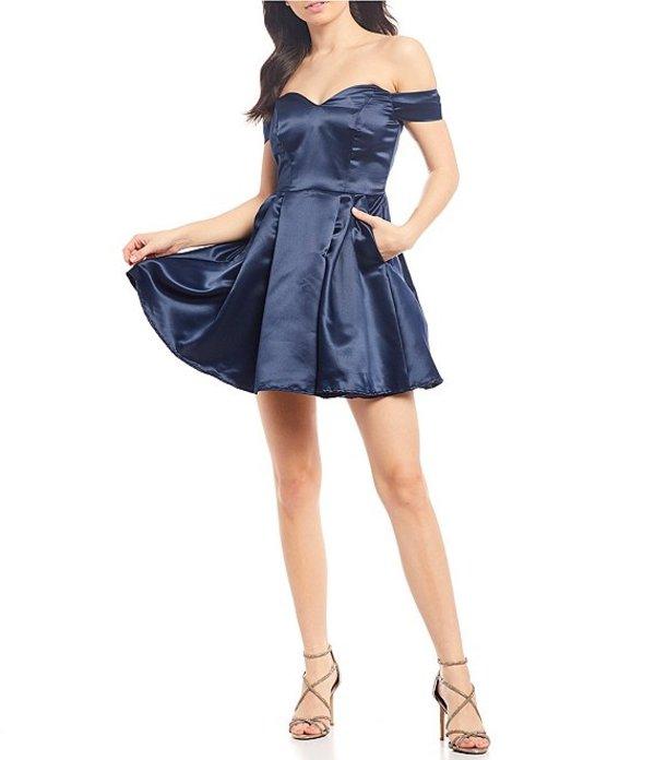 ビーダーリン レディース ワンピース トップス Off-the-Shoulder Satin Fit-and-Flare Dress Navy