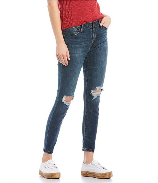 セレブリティピンク レディース デニムパンツ ボトムス Blown Out Knee Skinny Jeans Blue