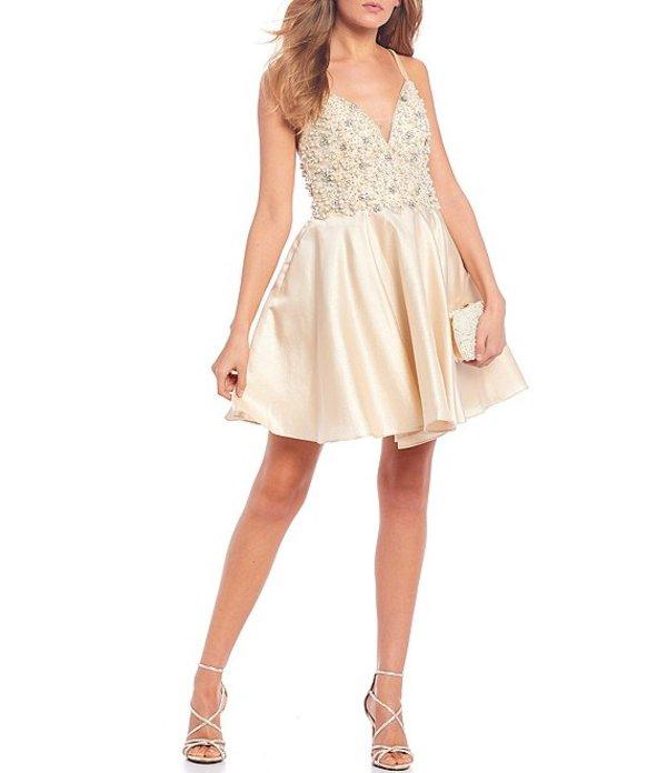 ジービー レディース ワンピース トップス Social Beaded Detail Bodice Dress Gold