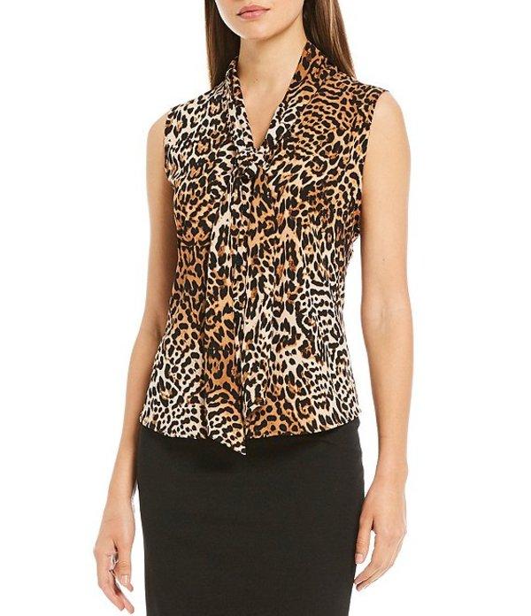 カルバンクライン レディース シャツ トップス Leopard Print Crepe de Chine Tie V-Neck Sleeveless Top Camel/Multi