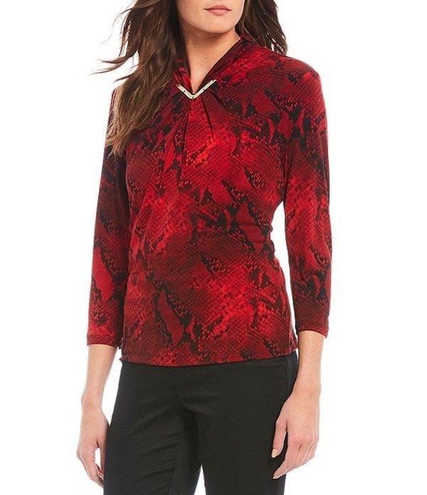 カルバンクライン レディース シャツ トップス Snake Skin Print Matte Jersey Metal Trim High V-Neck Long Sleeve Top Rouge/Black