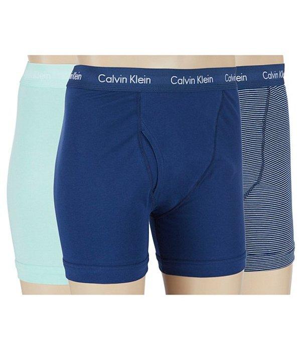 カルバンクライン メンズ ボクサーパンツ アンダーウェア Cotton Stretch 3-Pack Boxer Briefs Yucca/Estate Blue Stripe/Estate Blue