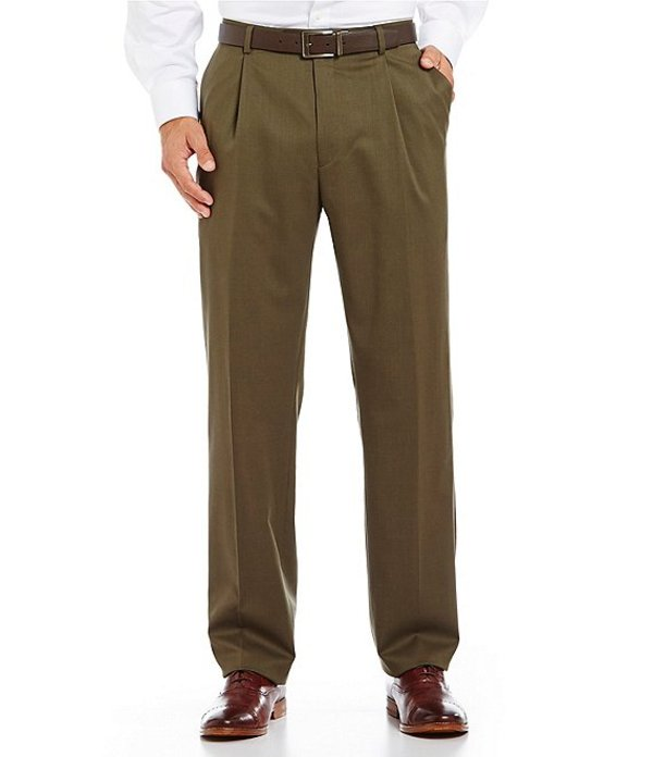 ハート シャフナー マルクス メンズ カジュアルパンツ ボトムス Tailored Single-Pleat Regular Chicago Fit Dress Pants Olive