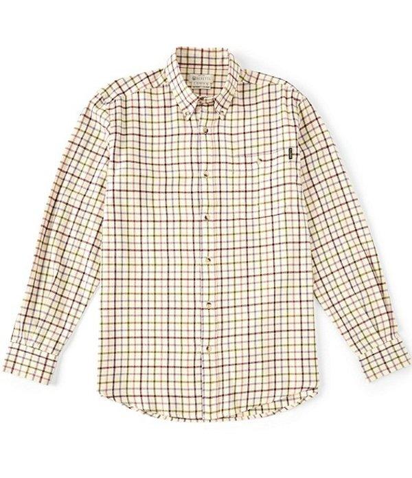 ベレッタ メンズ シャツ トップス Large Check Flannel Long-Sleeve Woven Shirt Beige Check