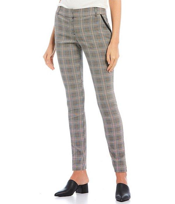 タカラ レディース レギンス ボトムス Coordinating Piping-Detailed Menswear Plaid Dress Pants Grey/Plaid