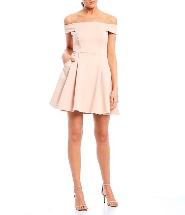 ティーズミー レディース ワンピース トップス Off The Shoulder Fit-and-Flare Dress Peach